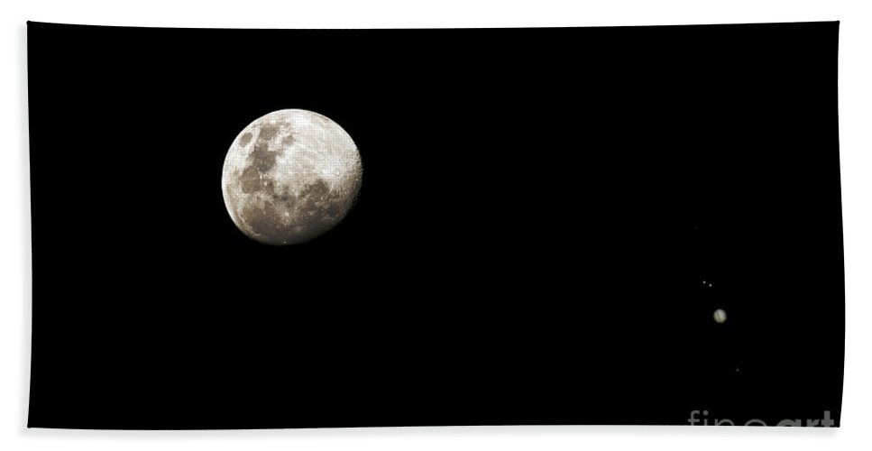 Sky Beach Towel featuring the photograph Earths Moon And Jupiter Separated by Luis Argerich