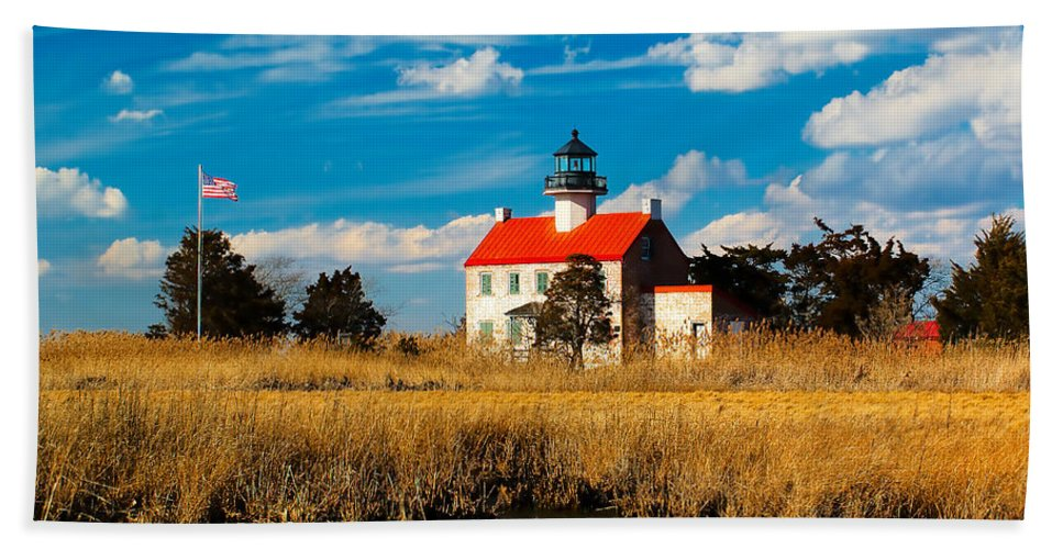 Architecture Beach Towel featuring the photograph East Point Lighthouse Reflection by Nick Zelinsky