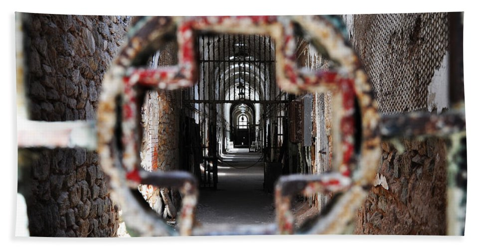Eastern State Penitentiary - Medical Ward Beach Towel featuring the photograph Eastern State Penitentiary - Medical Ward by Bill Cannon