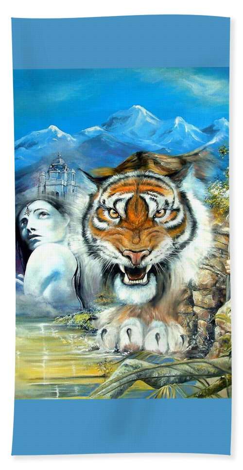 Fantasy Beach Towel featuring the painting Easy Tiger by Penny Golledge