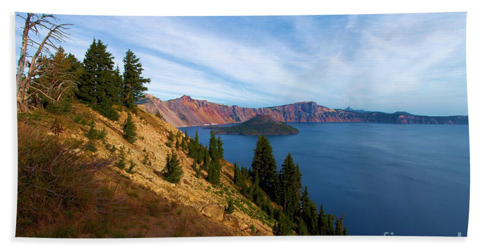 Crater Lake National Park Beach Towel featuring the photograph Edge Of The Crater by Adam Jewell
