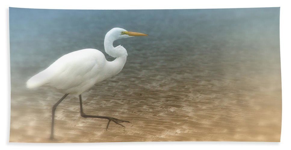 Egret Beach Towel featuring the photograph Egret Stroll by Karol Livote
