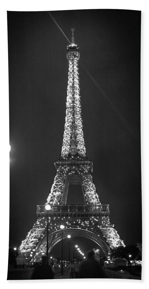 Eiffel By Night Beach Towel featuring the photograph Eiffel By Night by Wes and Dotty Weber