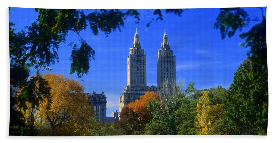 Central Park Beach Towel featuring the photograph San Remo Central Park West by Mark Gilman