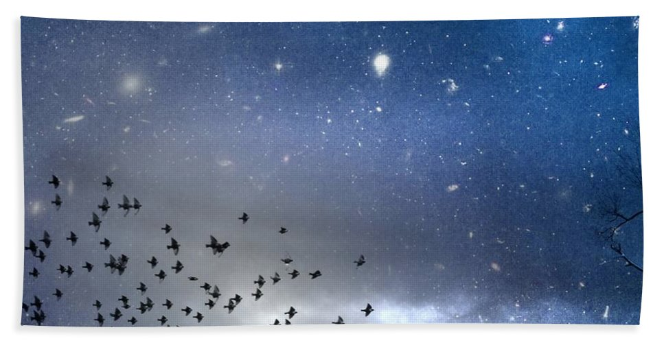 Stars Beach Towel featuring the digital art The Night Was Electrically Charged by Gothicrow Images