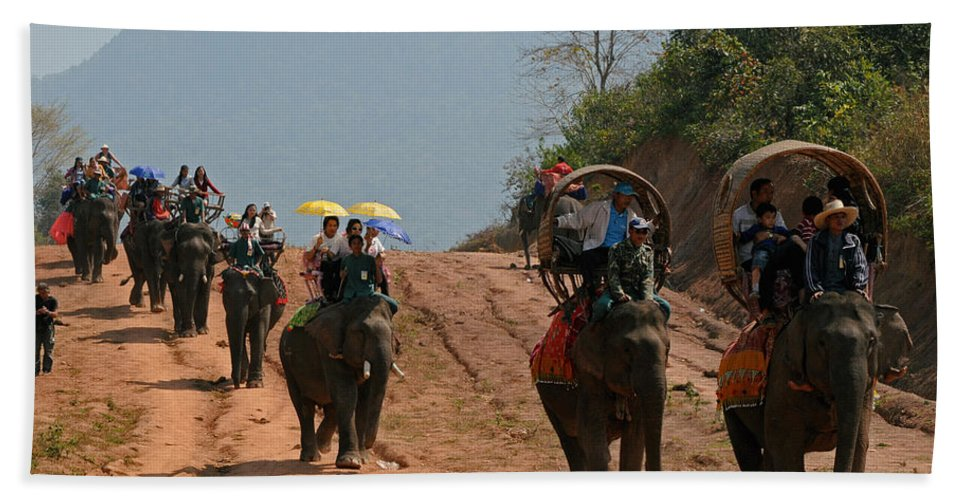 Elephants Beach Towel featuring the photograph Elephant Rides by Vivian Christopher