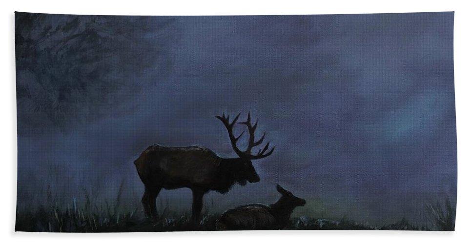 Elk Beach Towel featuring the painting Elks Love by Leslie Allen