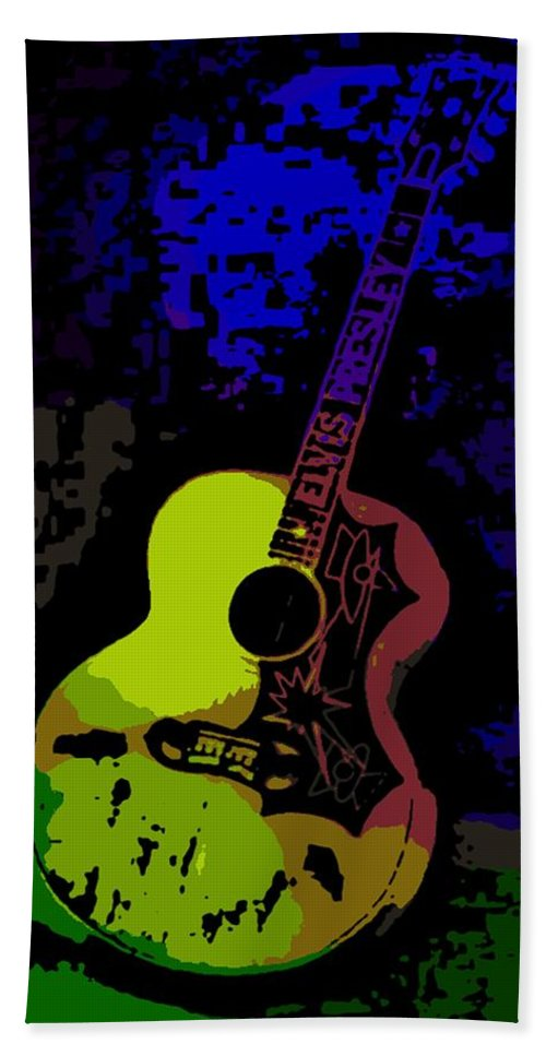 Elvis Beach Towel featuring the photograph Elvis Gibson J200 Guitar by George Pedro
