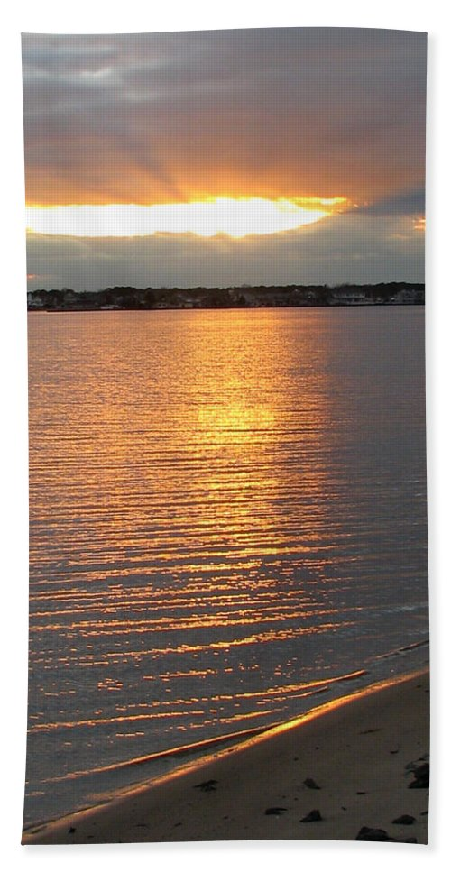 Sunset Beach Towel featuring the painting End Of Day by Clara Sue Beym