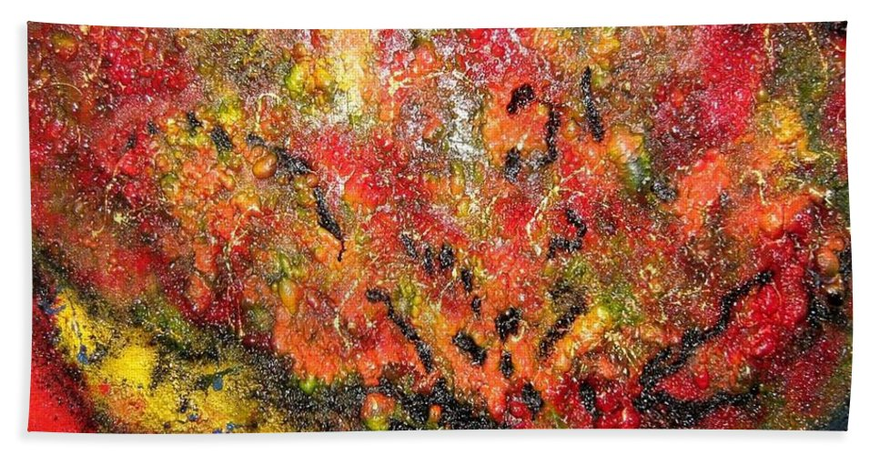 Fire Balls Beach Towel featuring the painting End Of Days by Karen Elzinga