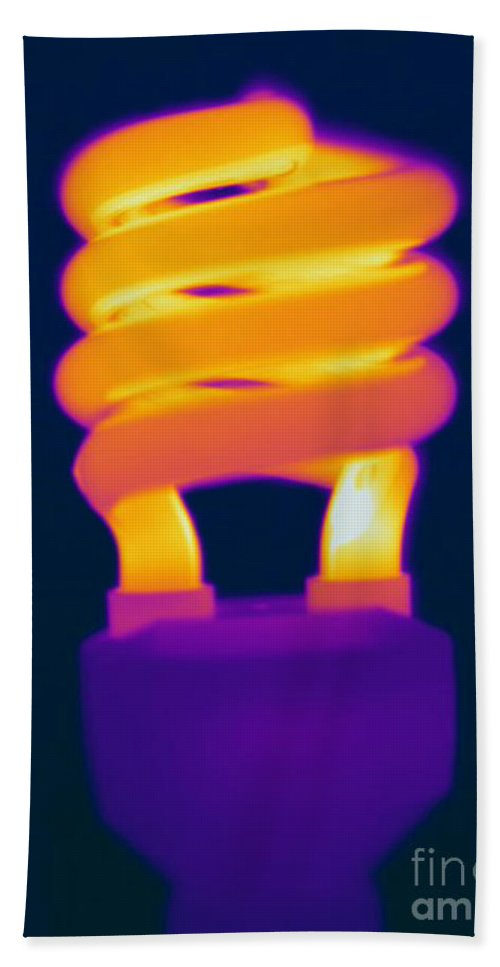 Thermogram Beach Towel featuring the photograph Energy Efficient Fluorescent Light by Ted Kinsman