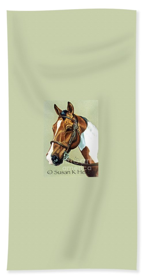 Horse Beach Towel featuring the pastel English Paint by Susan Herber