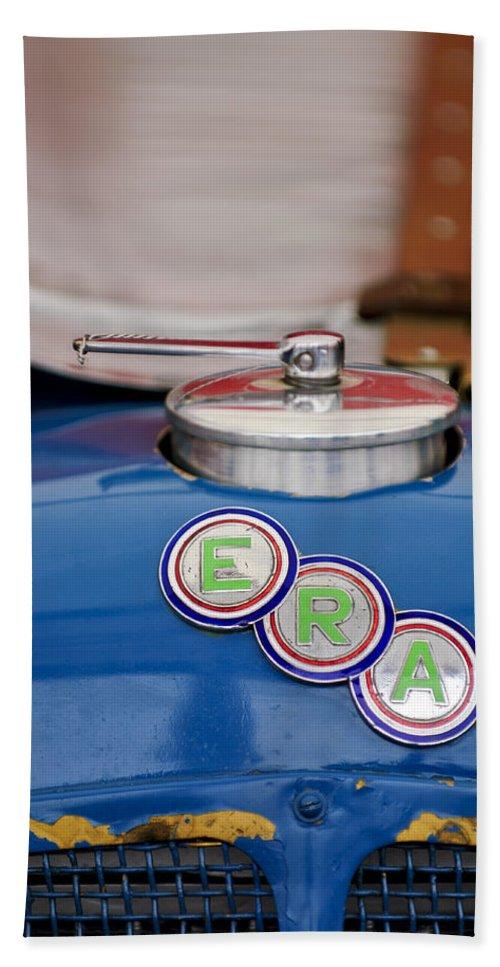 Era Beach Towel featuring the photograph English Racing Automobile Hood Emblem by Jill Reger