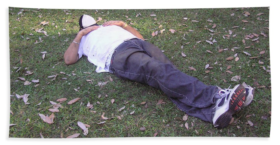 Relax Beach Towel featuring the photograph Enjoying A Snooze In A Partially Shaded Green Meadow by Ashish Agarwal