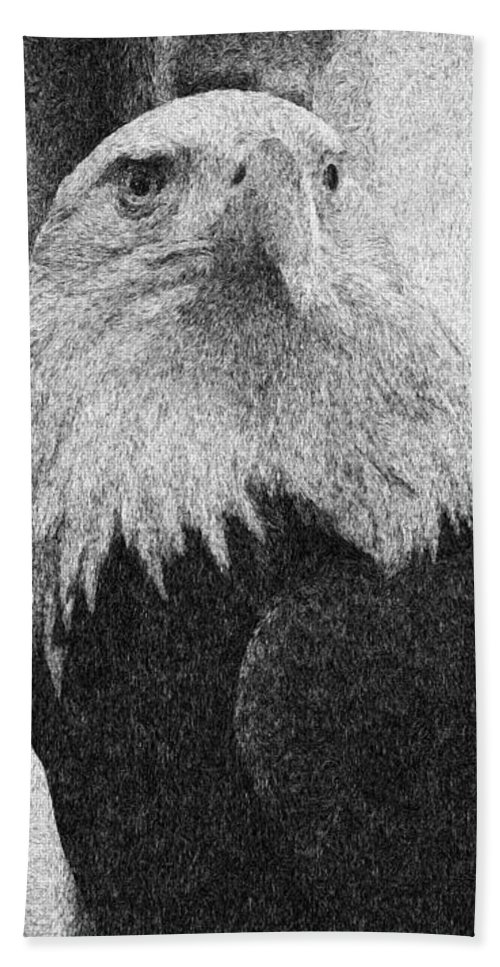 Eagle Beach Towel featuring the mixed media Etched Eagle by Georgiana Romanovna