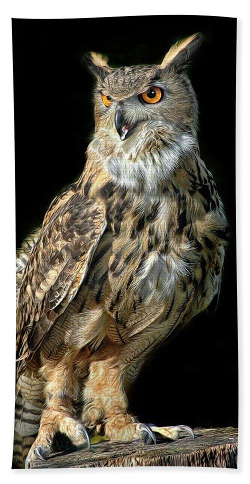 Eurasian Eagle Owl Beach Towel featuring the photograph Eurasian Eagle Owl by Dave Mills