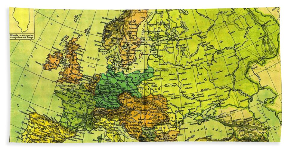German Empire Beach Towel featuring the photograph Europe Map Of 1911 by George Pedro