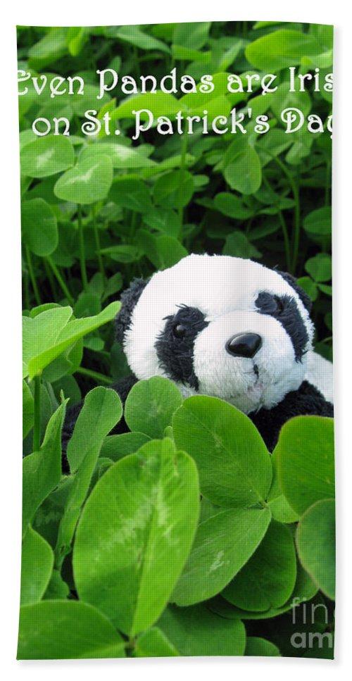 Panda Beach Towel featuring the photograph Even Pandas Are Irish On St. Patrick's Day by Ausra Huntington nee Paulauskaite