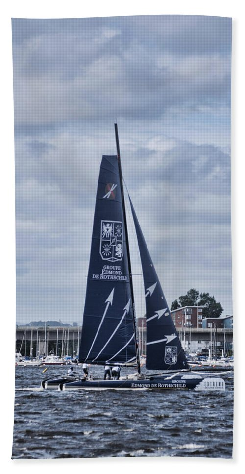Extreme 40 Catamarans Beach Towel featuring the photograph Extreme 40 Team Groupe Edmond De Rothschild by Steve Purnell