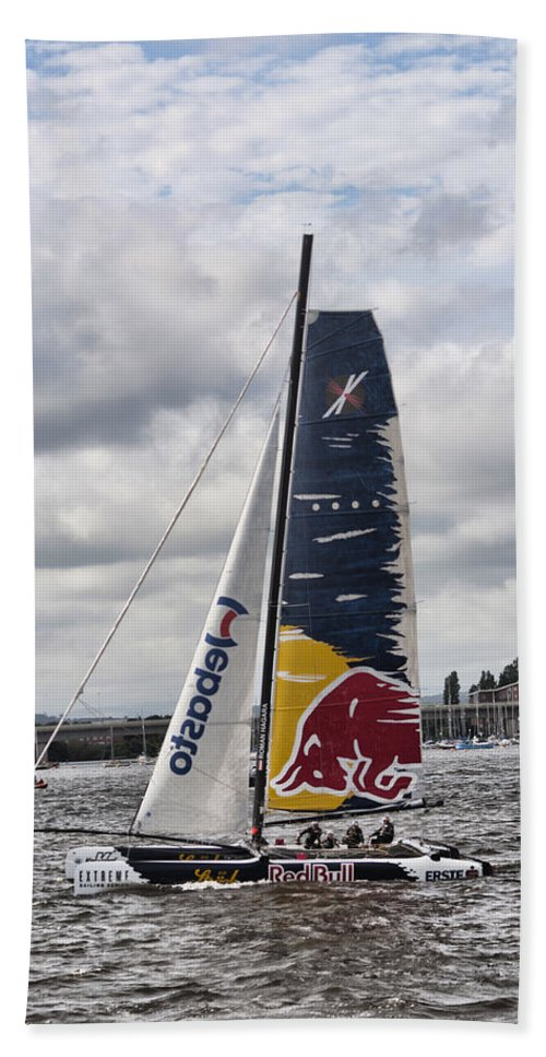 Extreme 40 Catamarans Beach Towel featuring the photograph Extreme 40 Team Red Bull by Steve Purnell