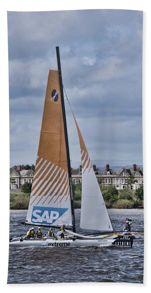 Extreme 40 Catamarans Beach Towel featuring the photograph Extreme 40 Team Sap Extreme by Steve Purnell