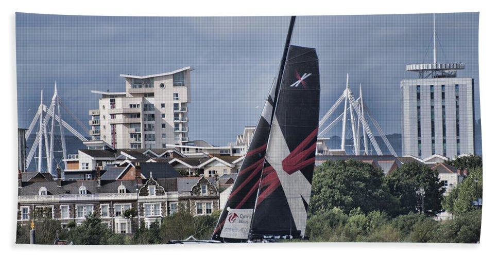 Extreme 40 Catamarans Beach Towel featuring the photograph Extreme 40 Team Wales 2 by Steve Purnell