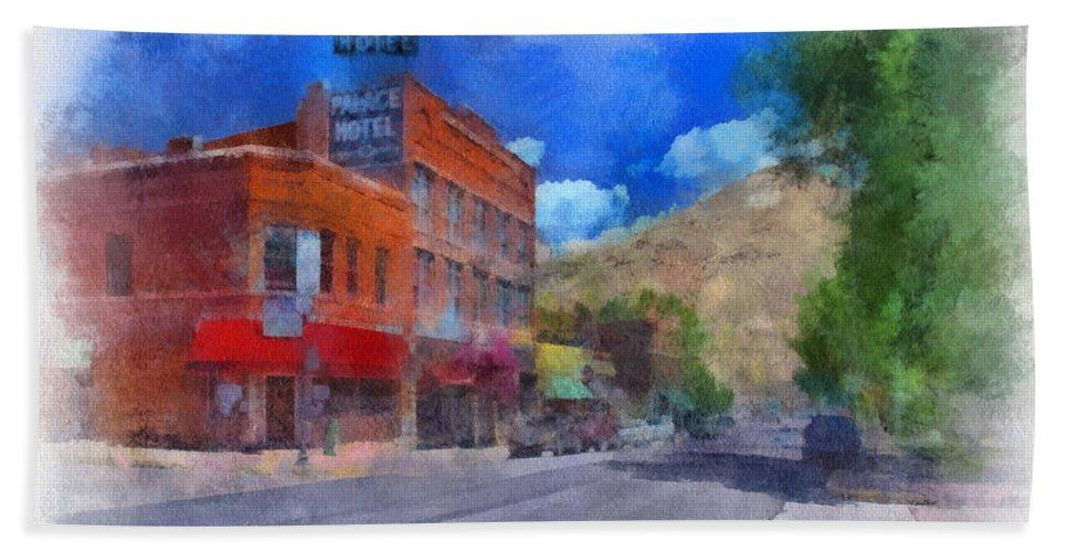 Santa Beach Towel featuring the digital art F And S Salida Watercolor by Charles Muhle