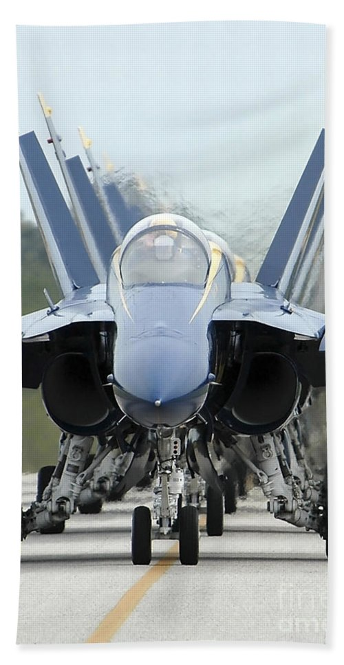 Color Image Beach Towel featuring the photograph Fa-18a Hornets Assigned To The Blue by Stocktrek Images