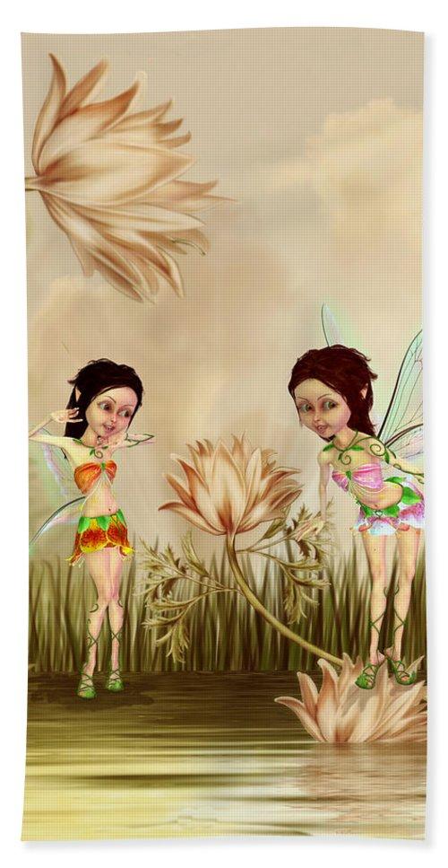 Fairies In The Garden Beach Towel featuring the digital art Fairies In The Garden by John Junek