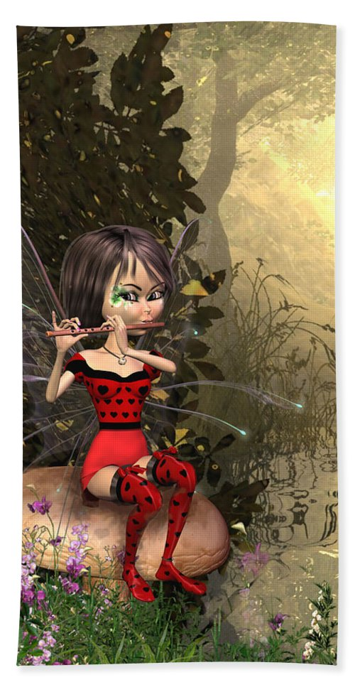 Forest Fairy Playing The Flute Beach Towel featuring the digital art Forest Fairy Playing The Flute by John Junek
