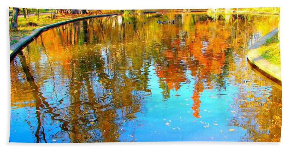 Fall Beach Towel featuring the photograph Fall Reflections by Ana Maria Edulescu