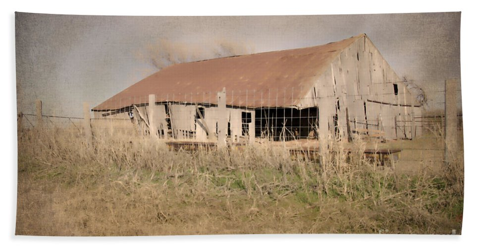 Old Barn Beach Towel featuring the photograph Falling Down by Betty LaRue