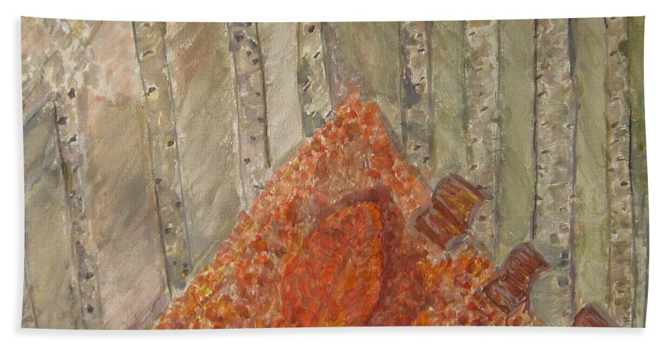 Autumn Beach Towel featuring the painting Falling Leaves by Alina Cristina Frent