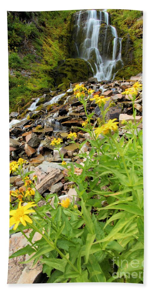 Vidae Falls Beach Towel featuring the photograph Falls To The Flowers by Adam Jewell