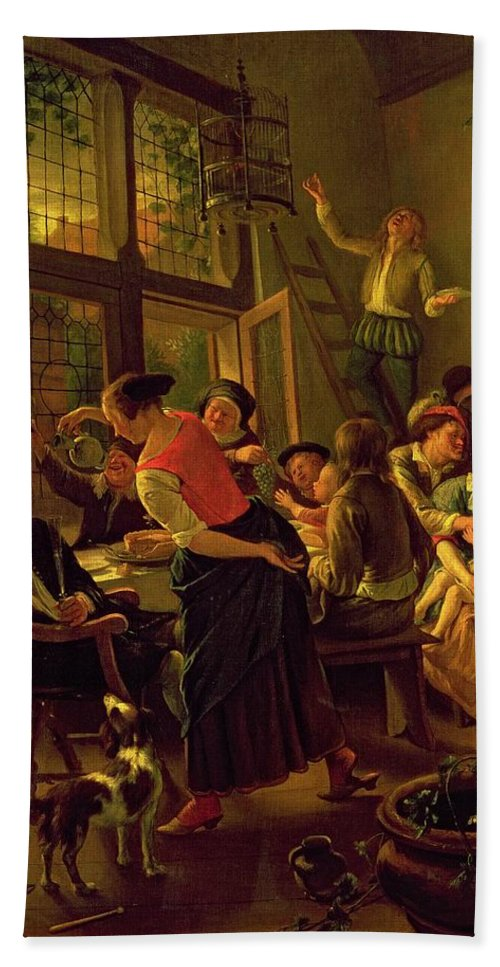 Family Meal Beach Towel featuring the painting Family Meal by Jan Havicksz Steen