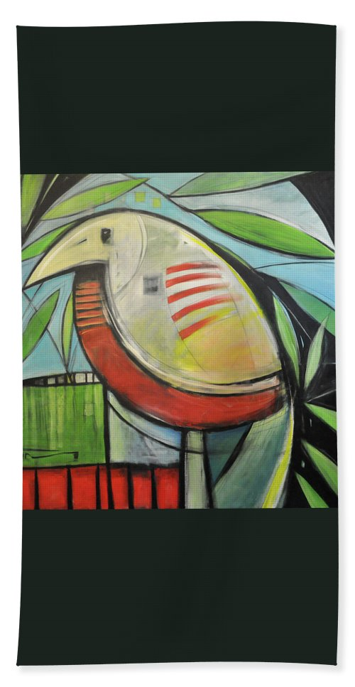 Bird Beach Towel featuring the painting Fancy Bird by Tim Nyberg