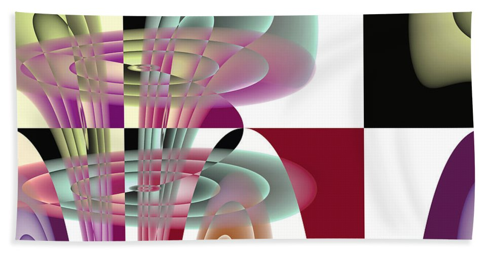 Abstract Beach Towel featuring the digital art Fanfare by Mark Greenberg