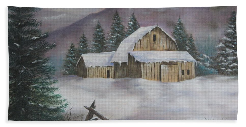 Winter Beach Towel featuring the painting February Snowstorm by Terry Boulerice
