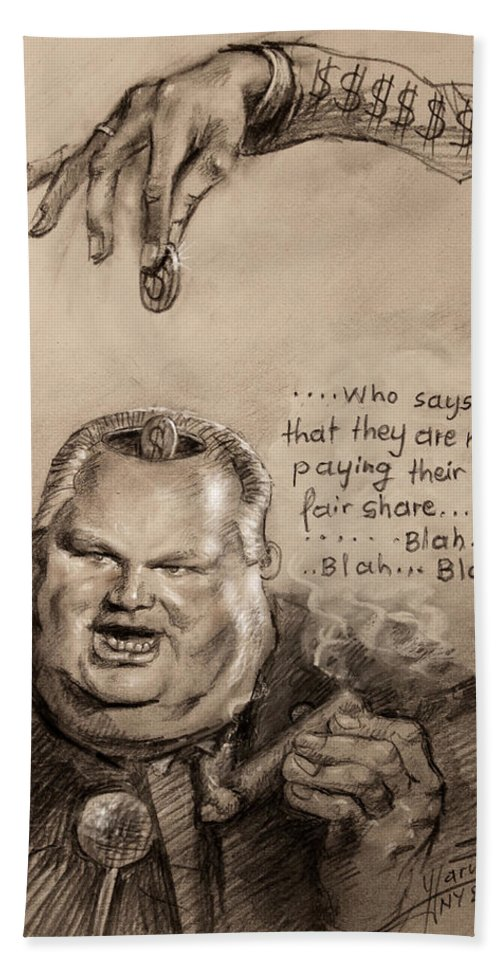 Rush Limbaugh Beach Towel featuring the drawing Feeding The Talking Heads Like Rush Limbaugh And Co by Ylli Haruni