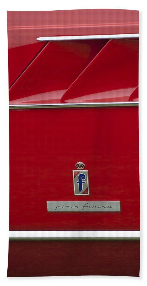 Ferrari Pininfarina Beach Towel featuring the photograph Ferrari Pininfarina Emblem 3 by Jill Reger