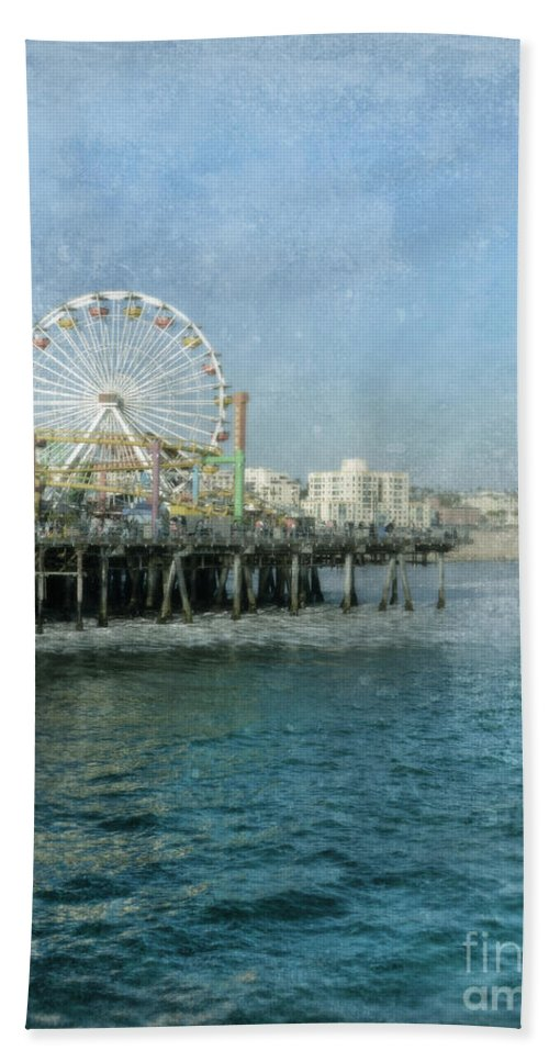 Beach Beach Towel featuring the photograph Ferris Wheel On The Santa Monica Pier by Jill Battaglia