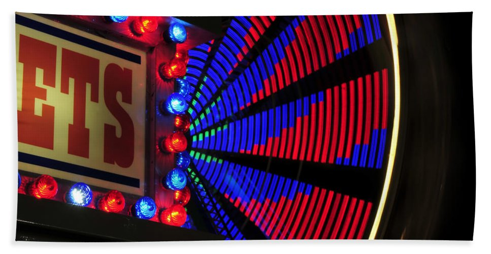Fine Art Photography Beach Towel featuring the photograph Ferris Wheel Tickets by David Lee Thompson