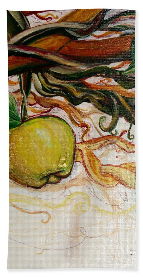 Apple Beach Towel featuring the painting Fifth World Five by Kate Fortin