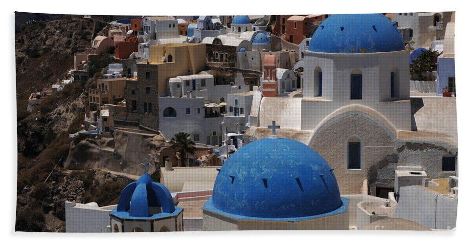 Santorini Beach Towel featuring the photograph Fira Santorini by Bob Christopher