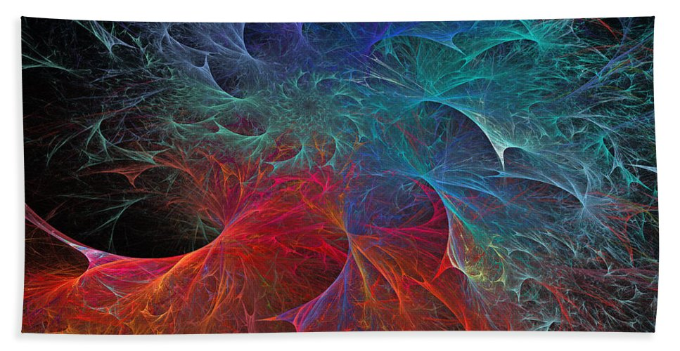 Fractals Beach Towel featuring the digital art Fire And Ice by Betsy Knapp