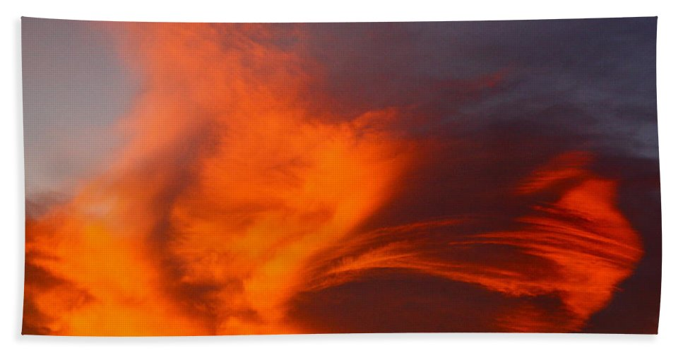 Clouds Beach Towel featuring the photograph Fire In The Sky by Diana Hatcher