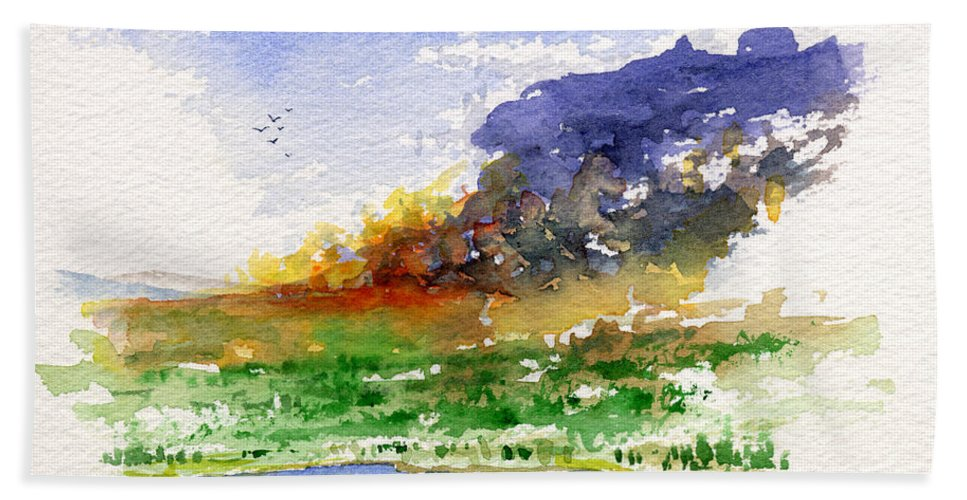 Fire Beach Towel featuring the painting Fire on the Pond by John D Benson