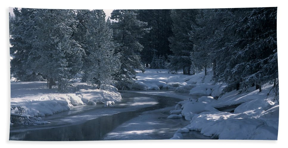 Yellowstone National Park Beach Towel featuring the photograph Firehole River In Yellowstone by Sandra Bronstein