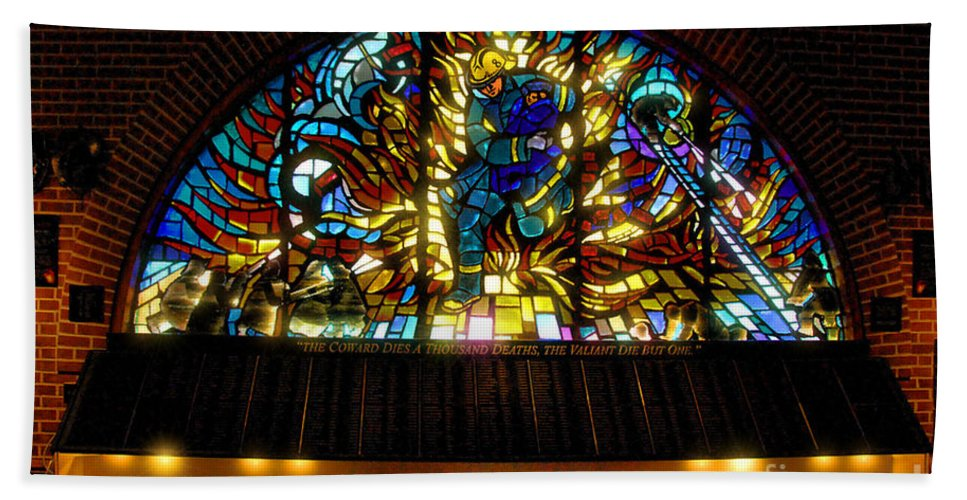 Stained Glass Beach Towel featuring the photograph Fireman's Hall Stained Glass by Tommy Anderson