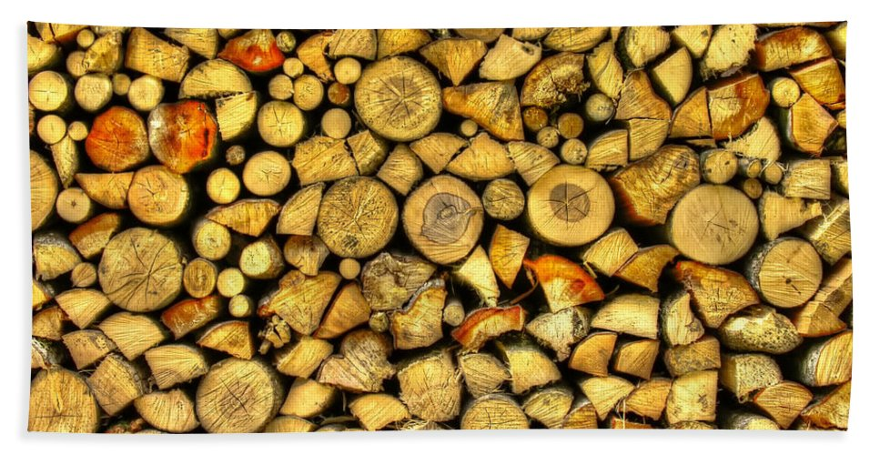 Wood Piles Beach Towel featuring the photograph Firewood by Mats Silvan